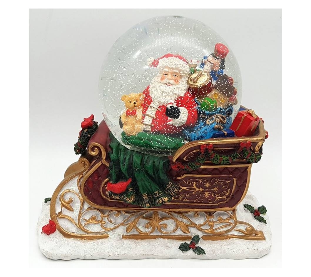 Santa In Sleigh Snow Globe