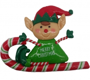 Clay Elf Riding Candy Cane