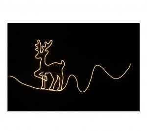 Neon Reindeer On Rope 82x 50cm