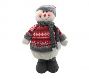 Snowman grey & Red 44 cm