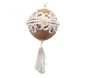Beige ball with tassel 8cm